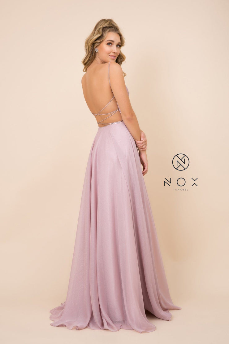 Long Pleated Bodice Dress with Corset Back by Nox Anabel R352