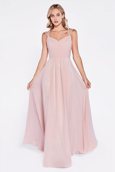 Long Pleated Dress with Beaded Cap Sleeves by Cinderella Divine 7461-Long Formal Dresses-ABC Fashion