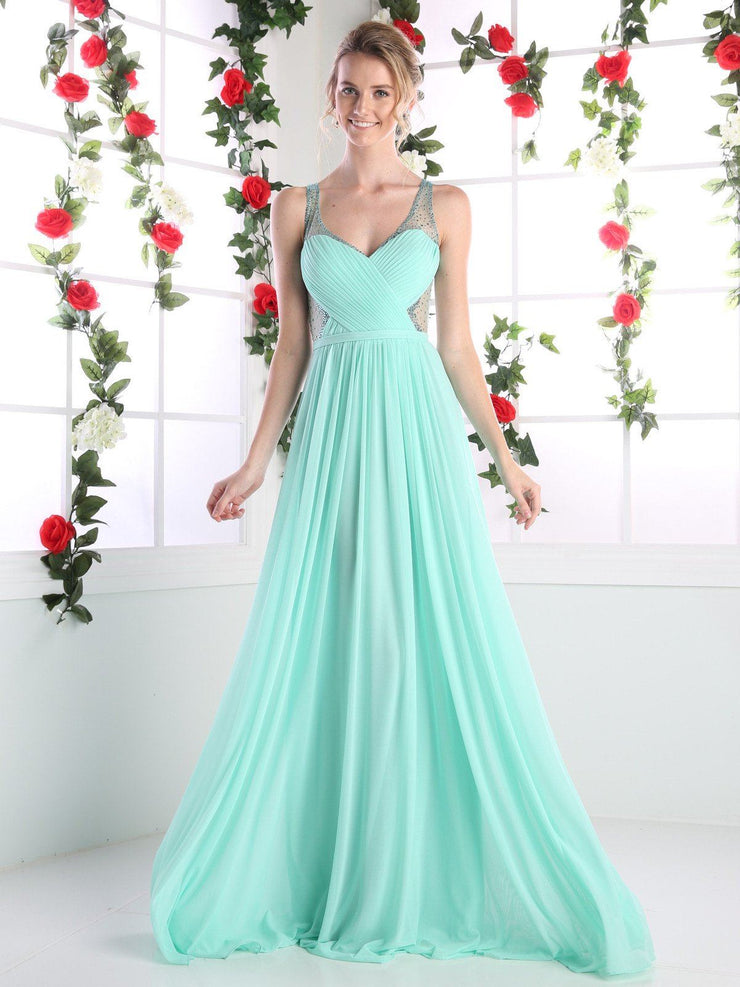 Long Pleated Dress with Beaded Sheer Straps by Cinderella Divine 5061-Long Formal Dresses-ABC Fashion