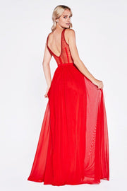 Long Pleated Dress with Sheer Cutouts by Cinderella Divine 5061