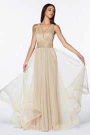 Long Pleated Metallic Dress by Cinderella Divine CT0040-Long Formal Dresses-ABC Fashion