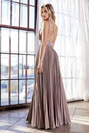 Long Pleated Metallic Glitter Dress by Cinderella Divine J9459