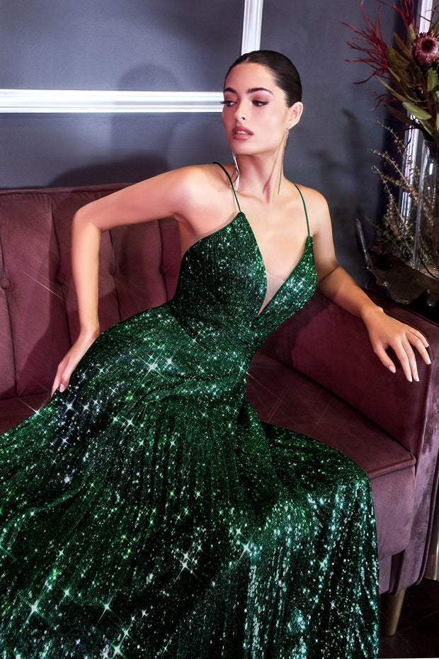 Long Pleated Sequin Dress by Cinderella Divine CH189