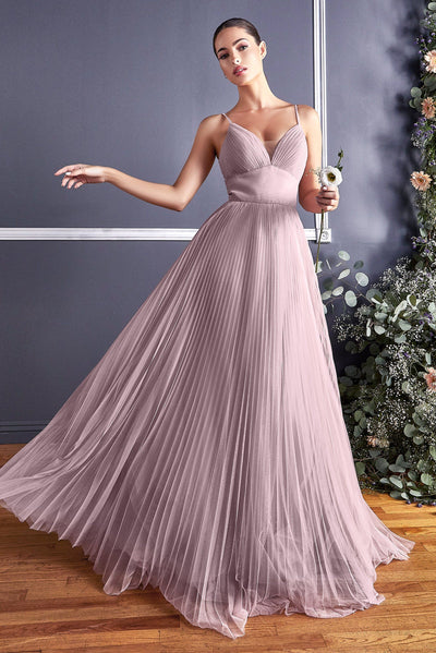Long Pleated Tulle Dress by Cinderella Divine CD184