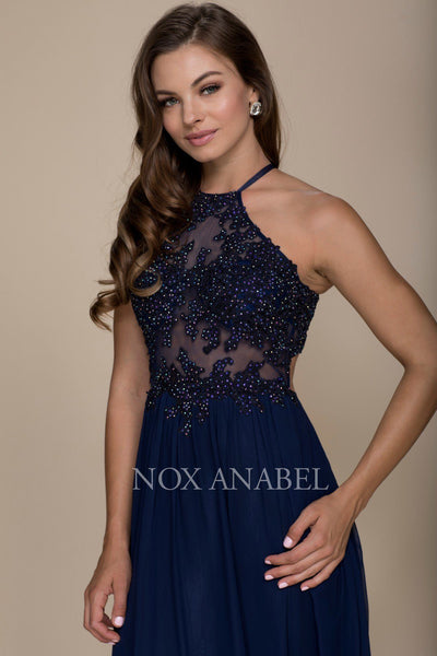 Long Racerback Dress with Appliqued Sheer Bodice by Nox Anabel G096-Long Formal Dresses-ABC Fashion