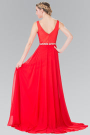 Long Red Chiffon Dress with Beaded Waist by Elizabeth K GL2293-Long Formal Dresses-ABC Fashion