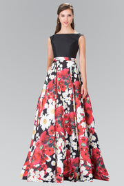 Long Red Floral Print Dress with Black Top by Elizabeth K GL2266-Long Formal Dresses-ABC Fashion