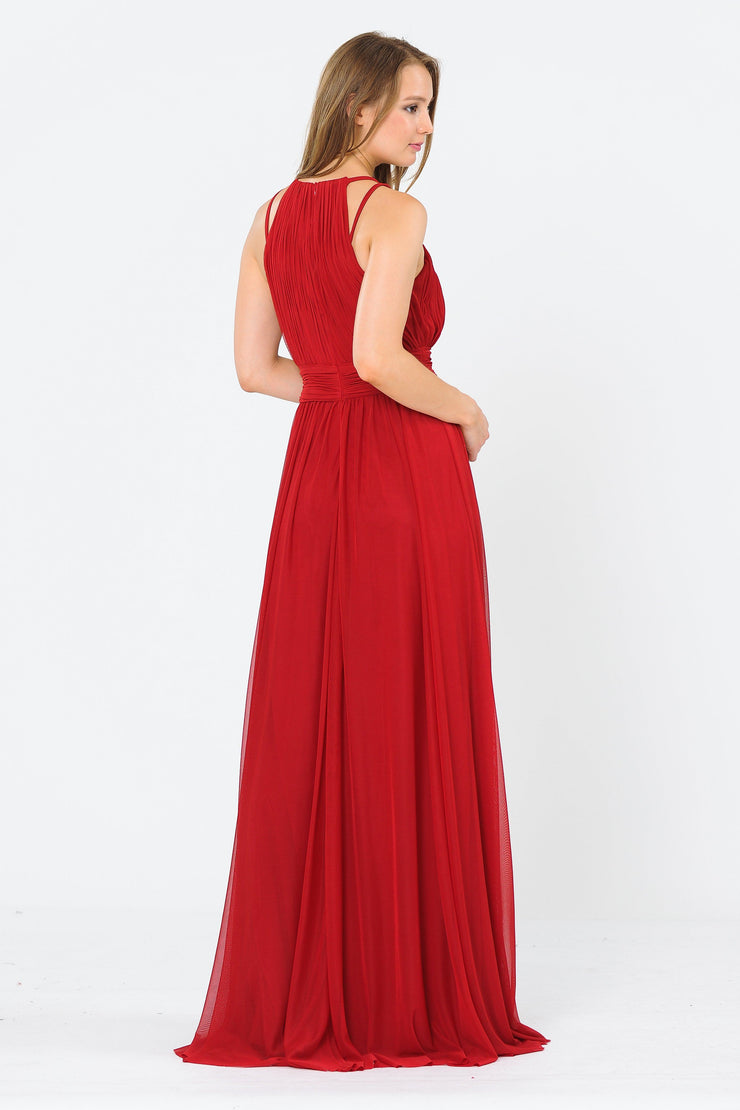 Long Ruched Halter A-line Dress by Poly USA 8396