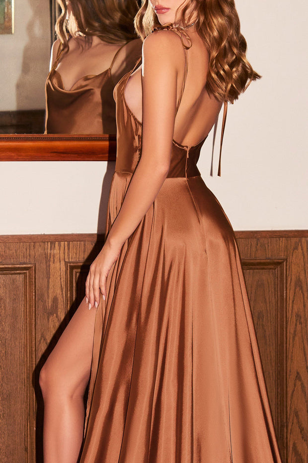 Long Satin A-line Dress by Cinderella Divine BD104