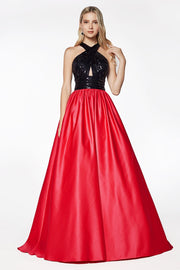 Long Satin Dress with Keyhole Bodice by Cinderella Divine J0234-Long Formal Dresses-ABC Fashion
