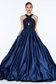 Long Satin Dress with Sequin Bodice by Cinderella Divine J0234
