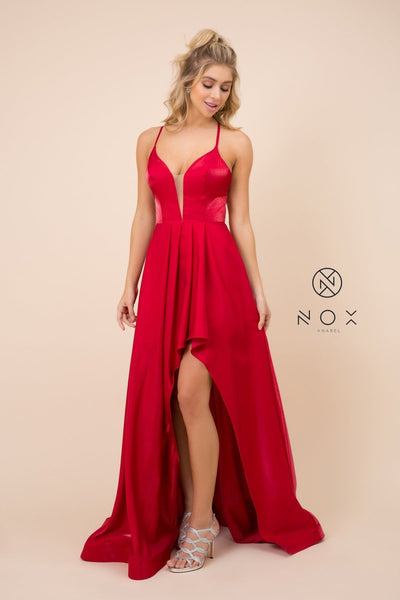 Long Satin V-Neck Dress with Corset Back by Nox Anabel M333