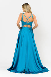 Long Satin V-Neck Dress with Corset Back by Poly USA 8654