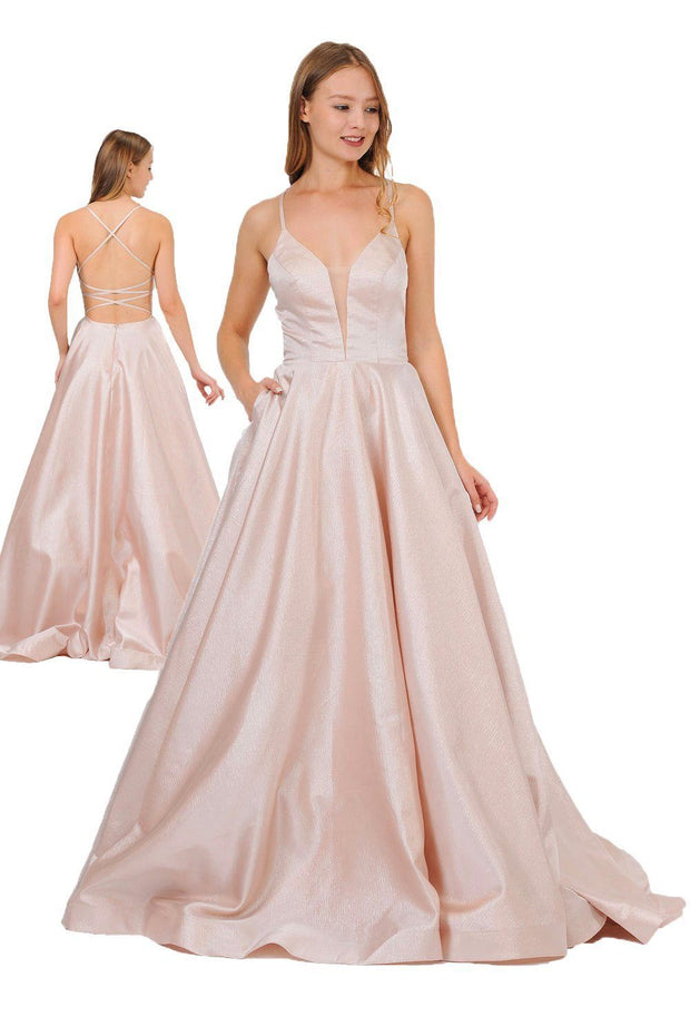 Long Satin V-Neck Dress with Crisscross Back by Poly USA 8456-Long Formal Dresses-ABC Fashion