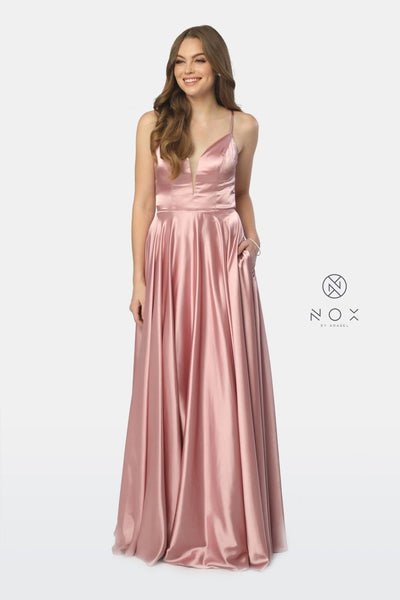 Long Satin V-Neck Dress with Open Caged Back by Nox Anabel A180-Long Formal Dresses-ABC Fashion