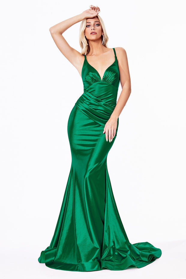 Long Satin V-Neck Mermaid Dress by Cinderella Divine CH236