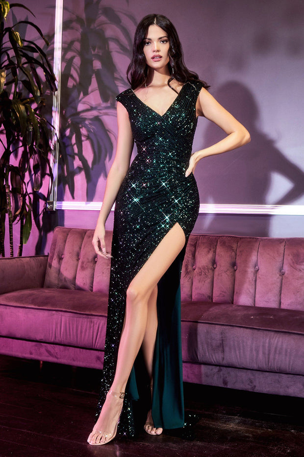 Long Sequin Cap Sleeve Dress by Cinderella Divine CH198