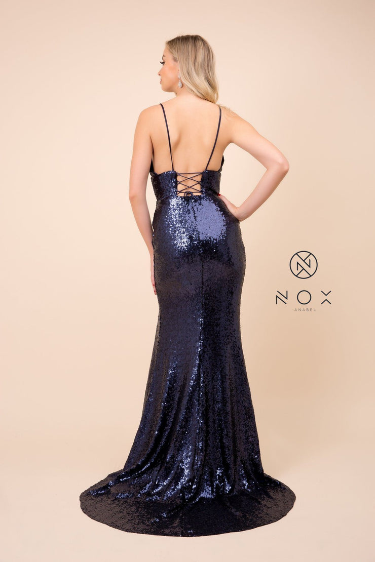 Long Sequin Dress with Corset Open Back by Nox Anabel R350