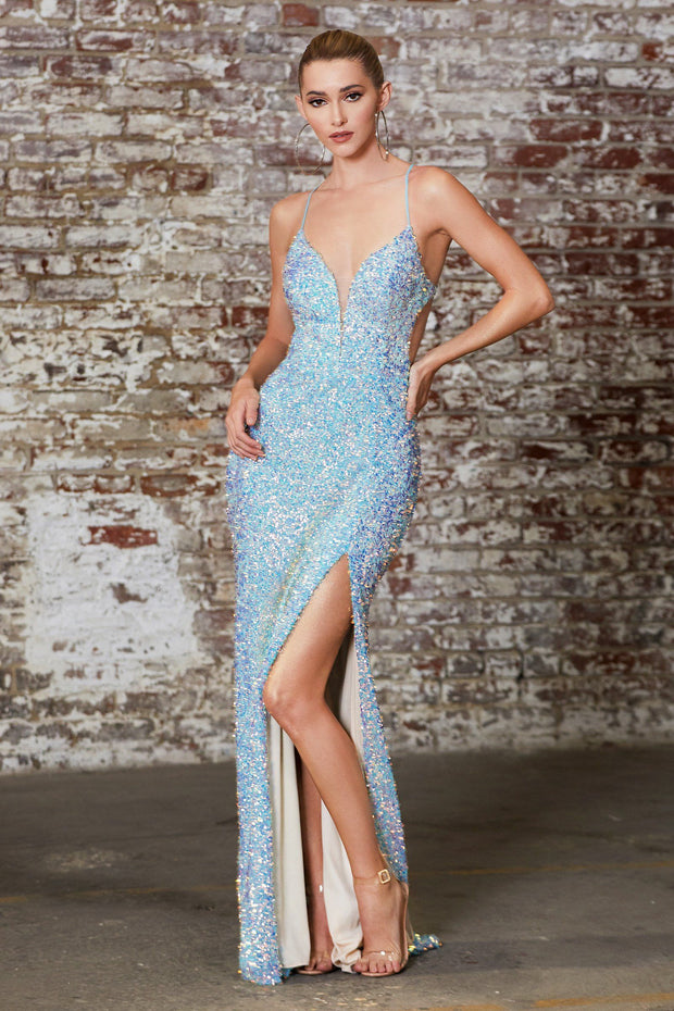 Long Sequin Dress with Lace-Up Back by Cinderella Divine CD175