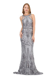 Long Sequin Embroidered Dress with Back Cut Out by Poly USA 8438-Long Formal Dresses-ABC Fashion