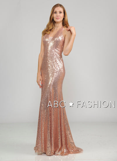 Long Sequin Halter Dress with Mermaid Skirt by Poly USA 8268-Long Formal Dresses-ABC Fashion