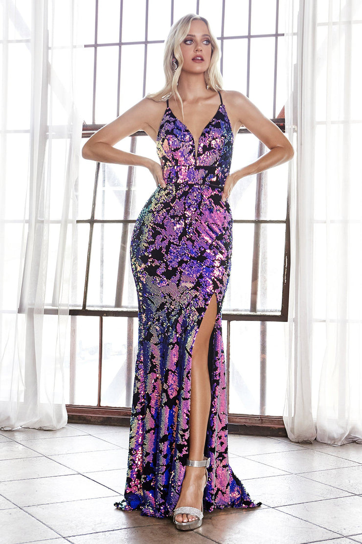 Long Sequin Print Fitted Dress by Cinderella Divine CF345