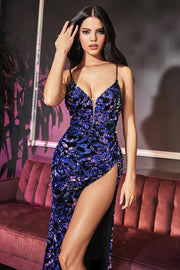 Long Sequin Print Fitted Dress by Cinderella Divine CD159