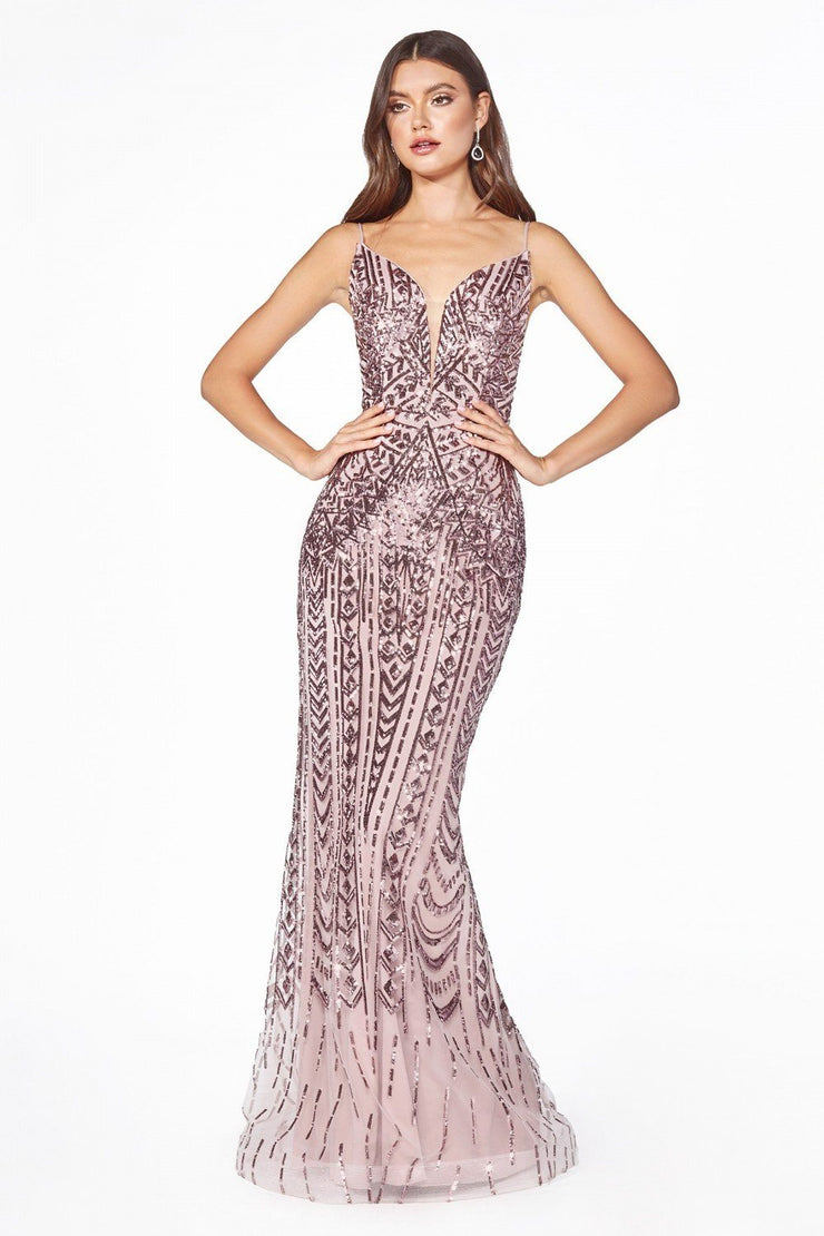 Long Sequin Print Mermaid Dress by Cinderella Divine CR843-Long Formal Dresses-ABC Fashion