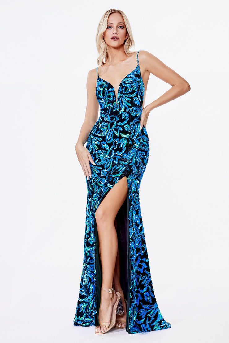 Long Sequin Print V-Neck Dress by Cinderella Divine CD207