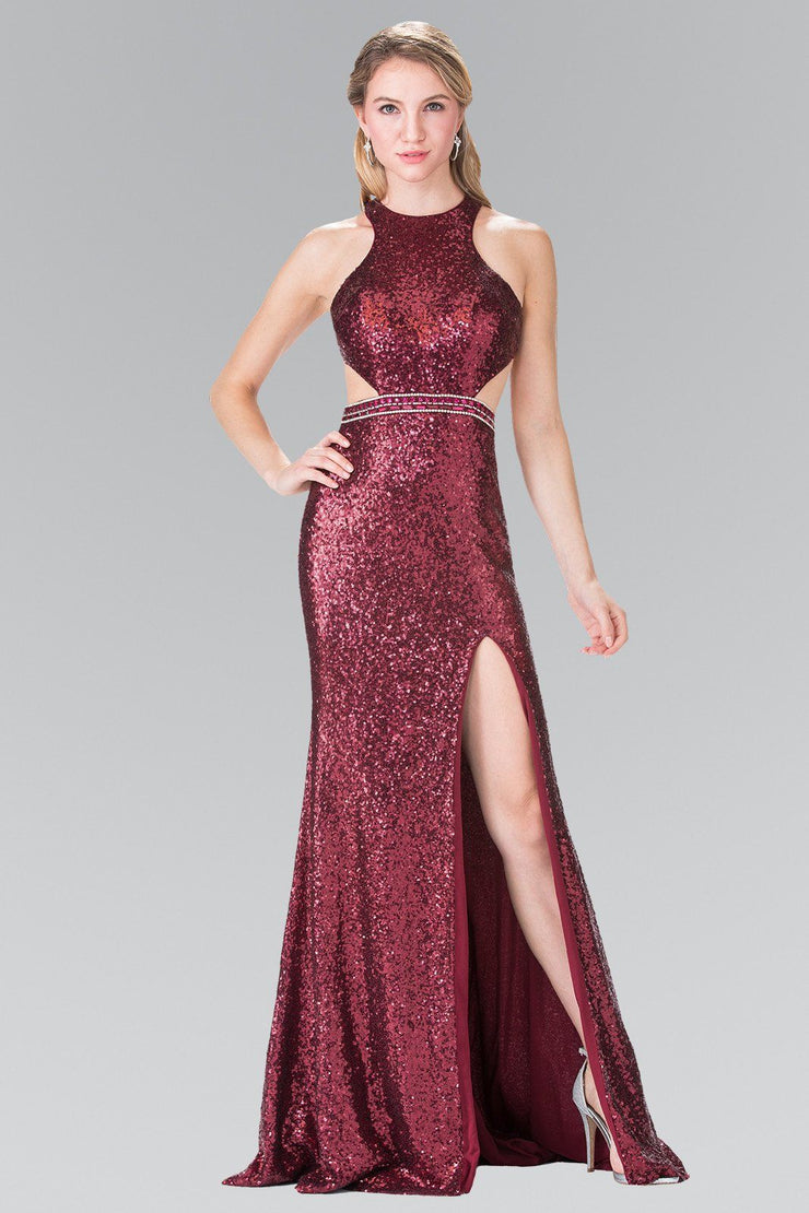 Long Sequined Halter Dress with Side Slit by Elizabeth K GL2278-Long Formal Dresses-ABC Fashion