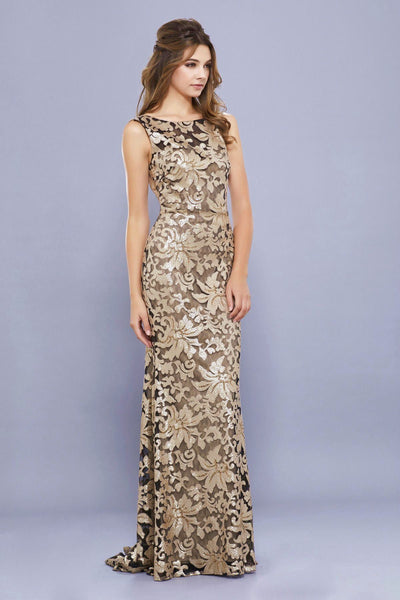 Long Sequined Metallic Lace Dress by Nox Anabel 8260-Long Formal Dresses-ABC Fashion