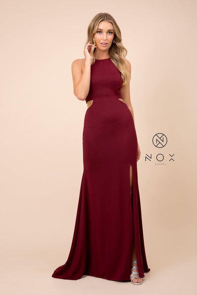 Long Sexy Cutout Dress with Lace-Up Back by Nox Anabel C026