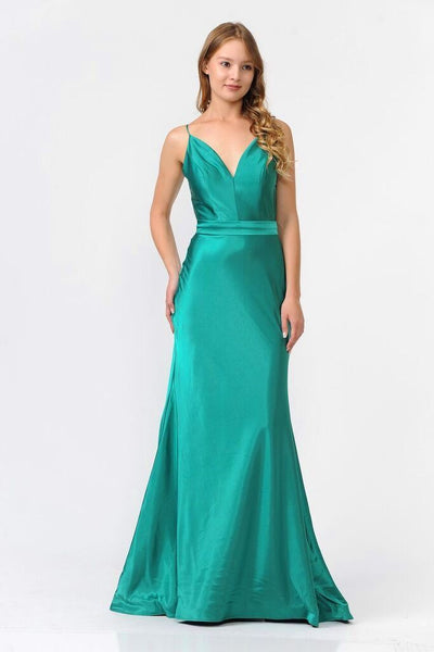 Long Shiny Charmeuse Dress with V-Neckline by Poly USA 9028-Long Formal Dresses-ABC Fashion