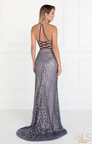 Long Silver Glitter Dress with Sheer Side Panels by Elizabeth K GL1546-Long Formal Dresses-ABC Fashion