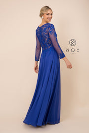 Long-Sleeve Gown with Embroidered Bodice by Nox Anabel H529