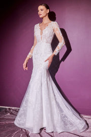 Long Sleeve Lace Bridal Gown by Cinderella Divine CD951W