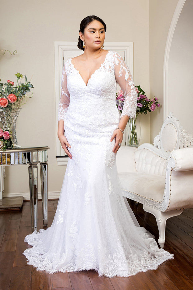 Long Sleeve Lace Mermaid Bridal Gown by GLS Gloria GL1932