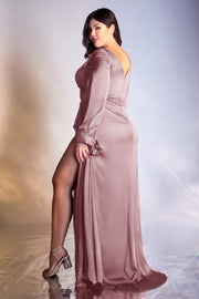 Long Sleeve Satin Curve Gown by Cinderella Divine 7478C
