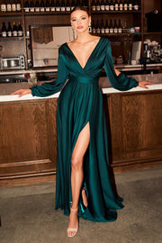 Long Sleeve Satin Gown by Cinderella Divine 7475