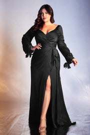 Long Sleeve Satin Gown by Cinderella Divine 7478