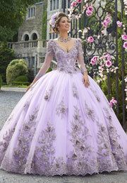 Long Sleeve Tulle Quinceanera Dress by Mori Lee Valentina 34024-Quinceanera Dresses-ABC Fashion
