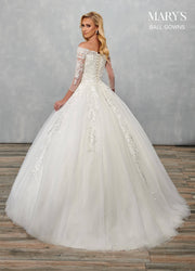 Long Sleeve Wedding Ball Gown by Mary's Bridal MB6072