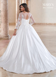 Long Sleeve Wedding Ball Gown by Mary's Bridal MB6081