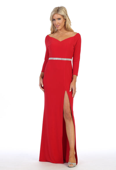 Long Sleeved V-Neck Gown with Side Slit by Celavie 6410-Long Formal Dresses-ABC Fashion