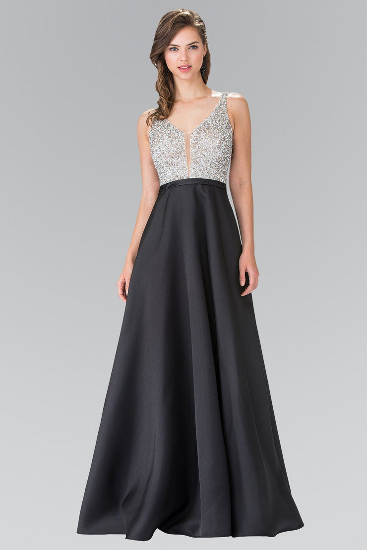 Long Sleeveless Beaded Gown with Open Back by Elizabeth K GL2287-Long Formal Dresses-ABC Fashion