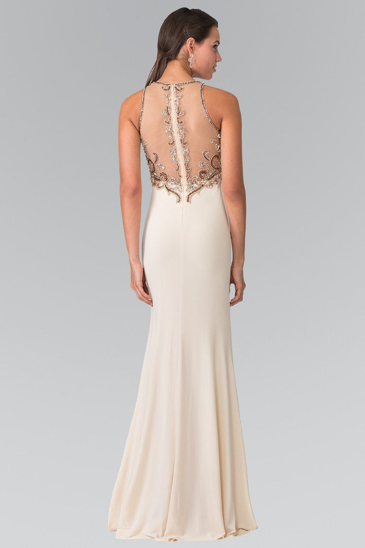 Long Sleeveless Beaded Illusion Dress by Elizabeth K GL1303-Long Formal Dresses-ABC Fashion