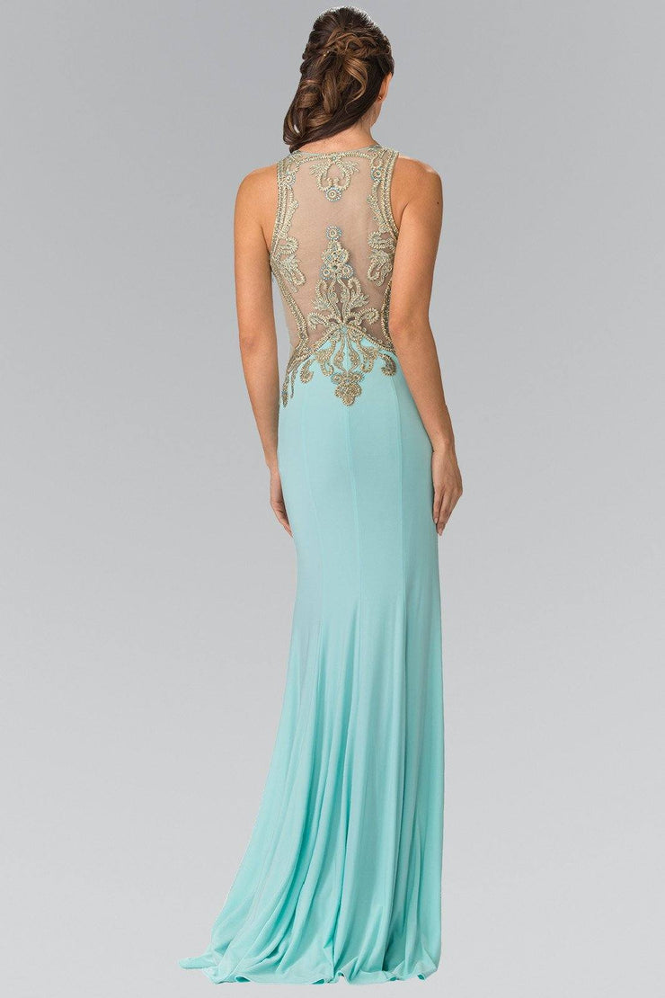 Long Sleeveless Beaded Illusion Dress by Elizabeth K GL2321-Long Formal Dresses-ABC Fashion