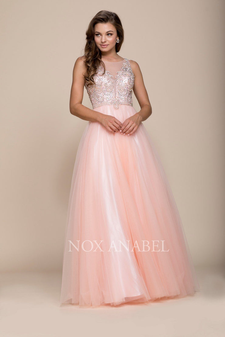 Long Sleeveless Beaded Illusion Dress by Nox Anabel 8248-Long Formal Dresses-ABC Fashion