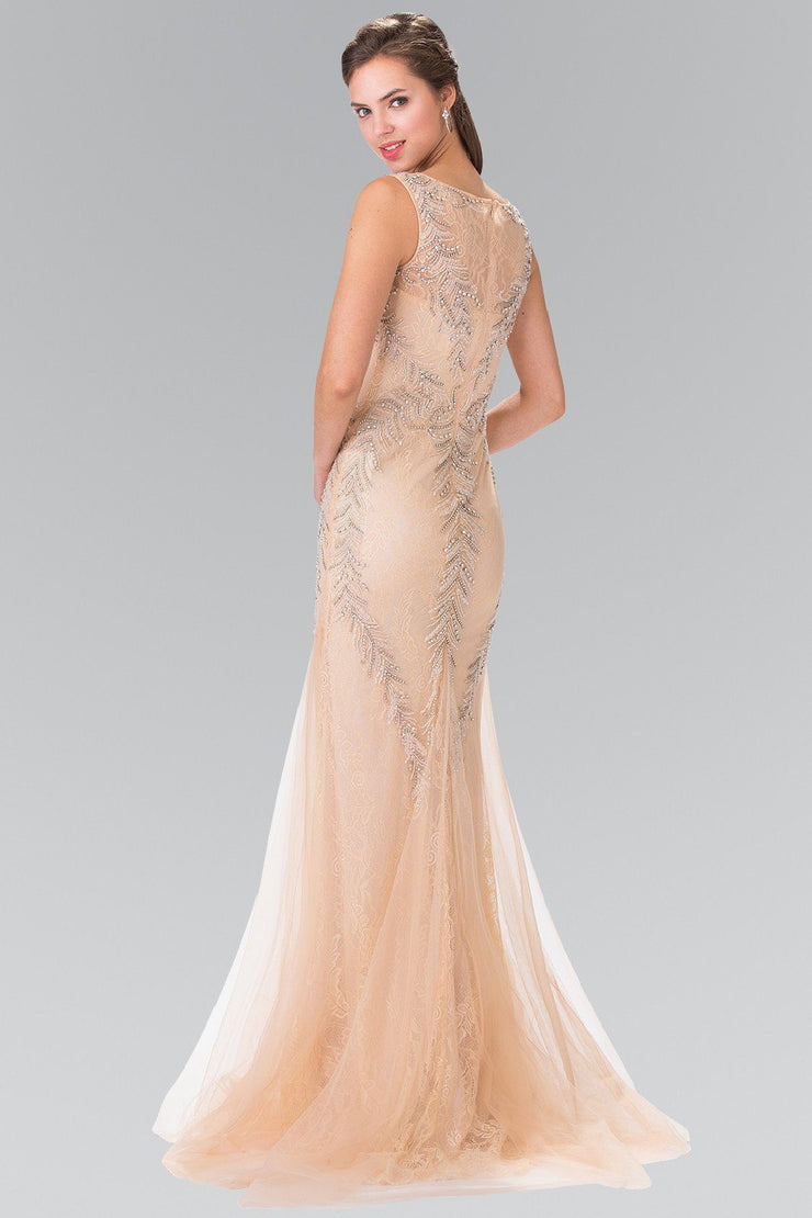 Long Sleeveless Beaded Lace Mermaid Dress by Elizabeth K GL2289-Long Formal Dresses-ABC Fashion