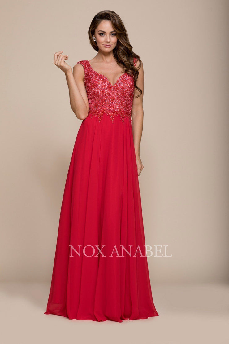 Long Sleeveless Beaded V-Neck Dress by Nox Anabel 8302-Long Formal Dresses-ABC Fashion